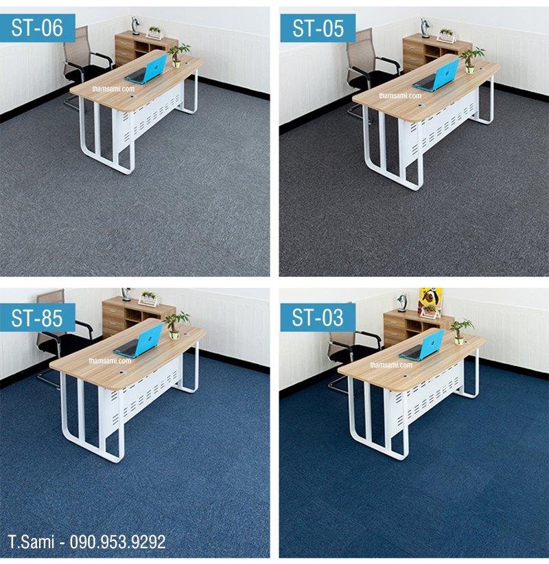 ứng dụng thảm tấm st85 có màu xanh trong thực tế