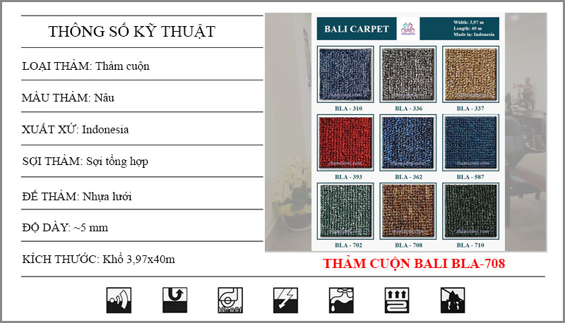 Thông số kỹ thuật thảm cuộn Bali 708 có màu nâu