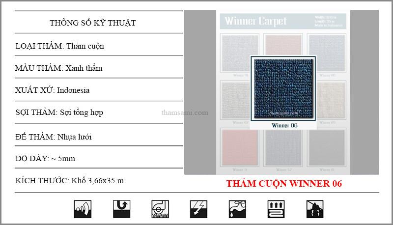 Thông số kỹ thuật thảm cuộn Winner 06