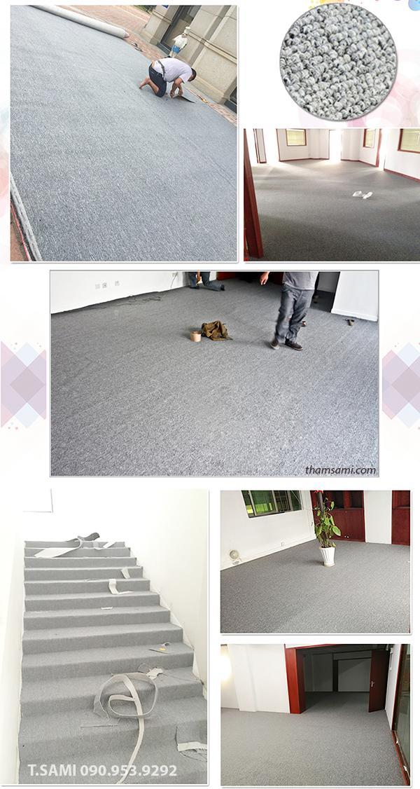 thảm cuộn trải sàn màu ghi cho văn phòng