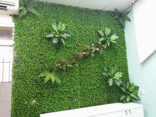 Trang trí tường quá café bằng thảm cỏ nhân tạo