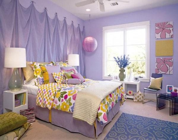 Tường phòng ngủ màu tím nên chọn màu thảm trải sàn như thế nào