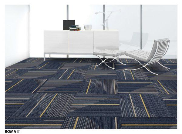 Thảm gạch xanh lam trải văn phòng cho không gian thêm sang trọng
